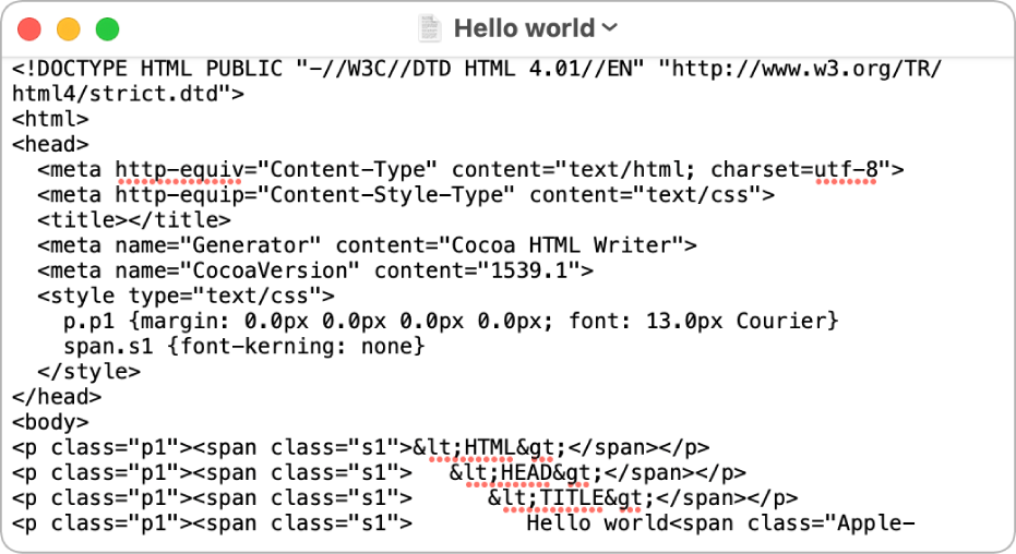 HTML-fájl szerkesztési módban.