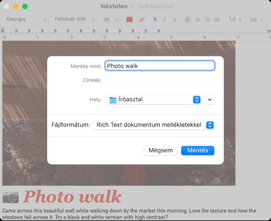 A Mentés párbeszédablak alul a Fájl formátum menüvel.