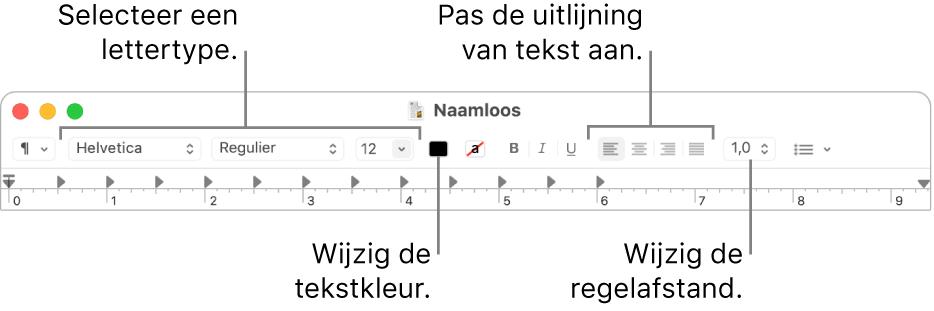 De knoppenbalk van Teksteditor voor een RTF-document met daarin regelaars voor het lettertype, de tekstuitlijning en de afstand.