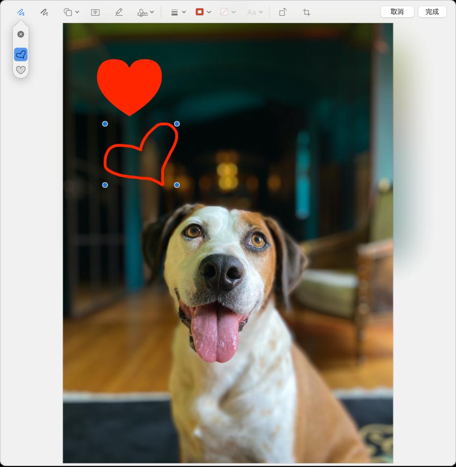 使用「標示」工具繪製的愛心影像。