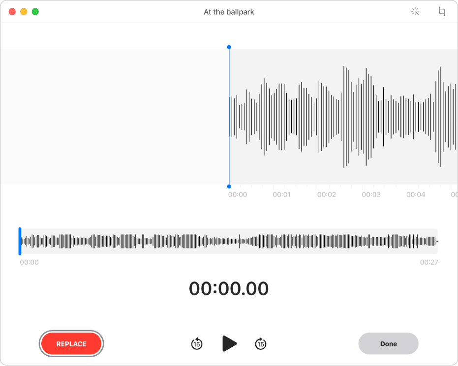 A Voice Memos recording. Drag the blue vertical line (playhead) to where you want to edit. To record new audio to replace the existing audio, click the Replace button on the left. To delete excess audio, click the Trim button in the top-right corner.
