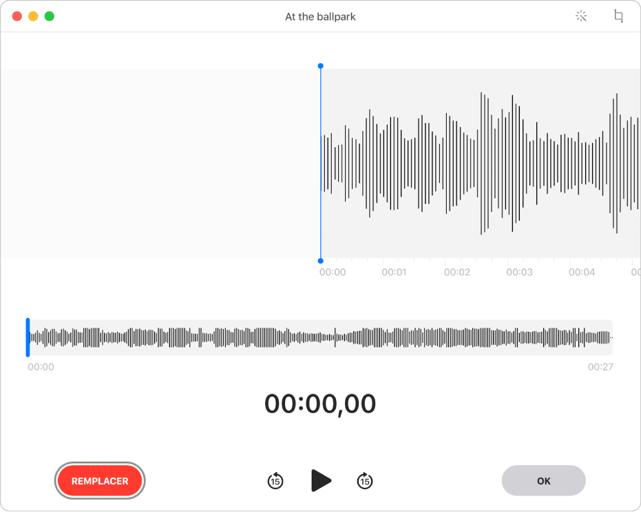 Un enregistrement Dictaphone. Faites glisser la ligne verticale bleue (la tête de lecture) à l'endroit où vous souhaitez modifier l'enregistrement. Pour enregistrer une nouvelle piste audio qui remplacera la piste audio existante, cliquez sur le bouton Remplacer à gauche. Pour supprimer du contenu audio en trop, cliquez sur le bouton Raccourcir situé dans le coin supérieur droit.