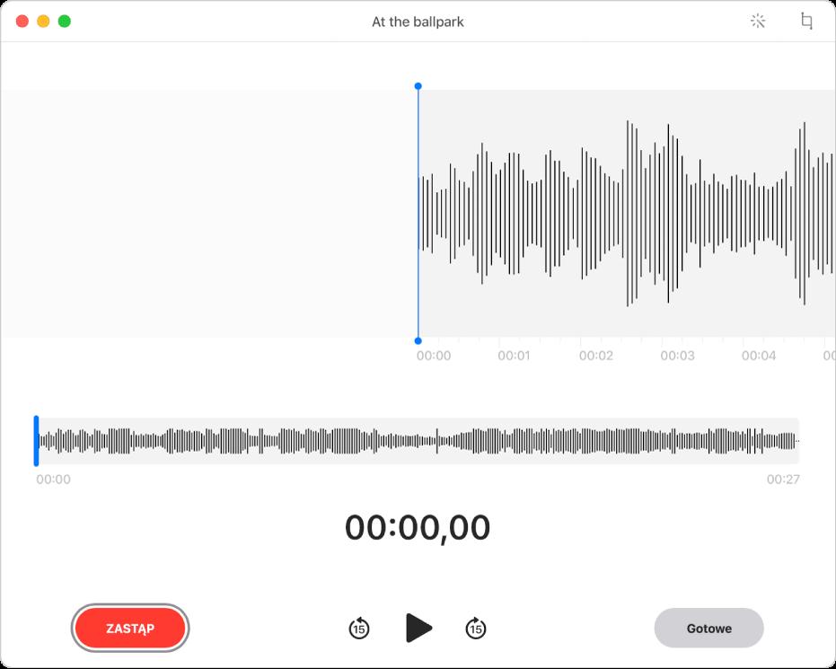 Nagranie waplikacji Dyktafon. Przesuwaj pionową niebieską linię (głowicę odtwarzania) do miejsca, wktórym chcesz rozpocząć edycję. Aby nagrać nowe audio wcelu zastąpienia istniejącego audio, kliknij wZastąp po lewej. Aby usunąć zbędne audio, kliknij wPrzytnij wprawym górnym rogu.