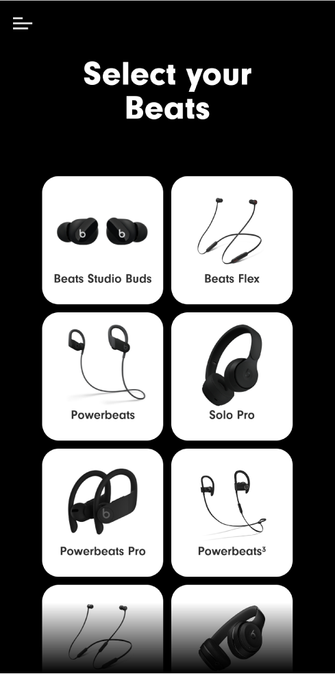 Select Your Beats screen showing supported devices