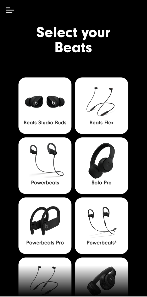 Beats app showing Select Your Beats screen