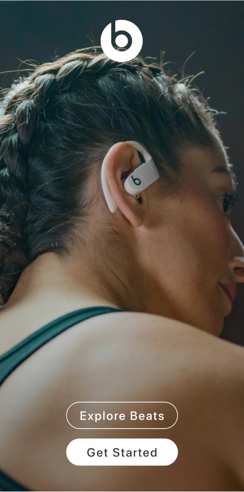 Pantalla de bienvenida de la app Beats mostrando los botones Explorar Beats y Empezar