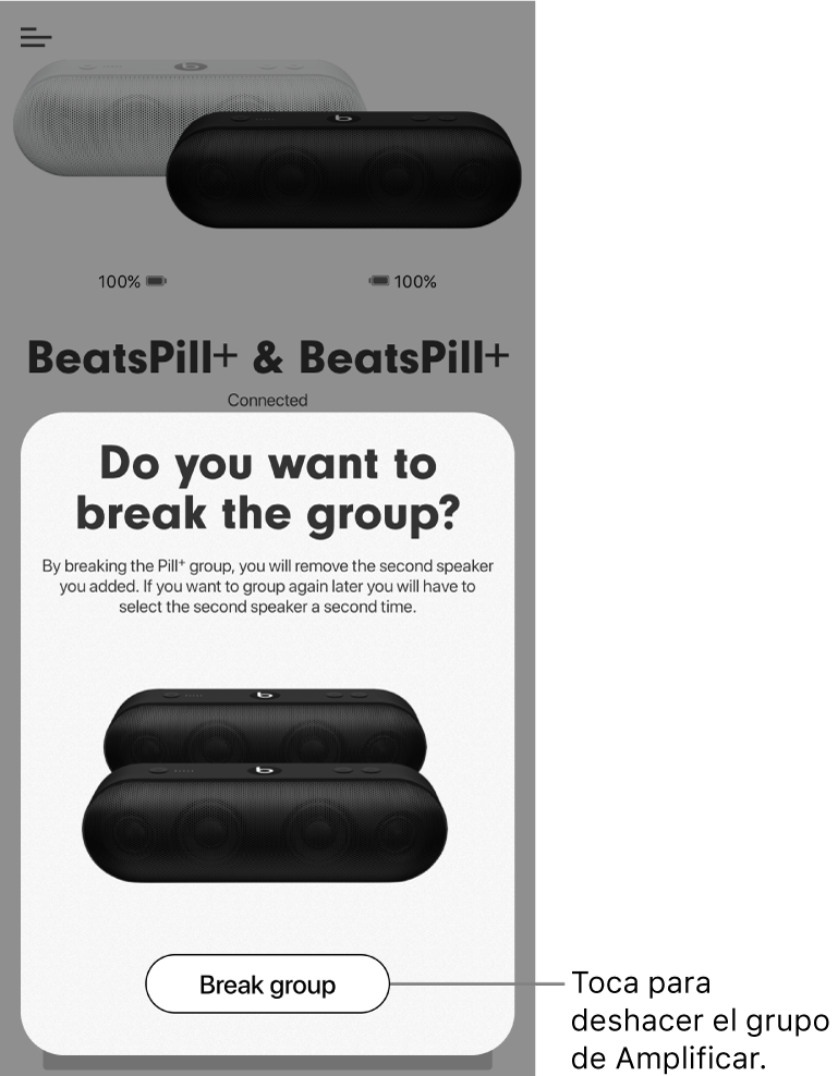 "App Beats mostrando la tarjeta ""Interrumpir grupo"""