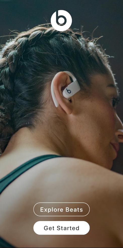 Beats-sovelluksen Tervetuloa-näkymä, jossa on Tutustu Beatsiin- ja Alkuun pääseminen -painikkeet