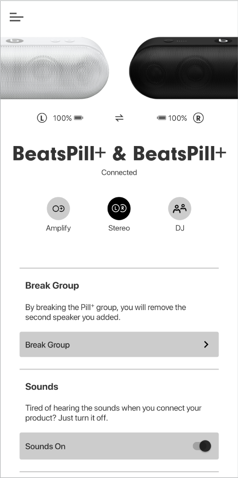 स्टीरियो मोड में Beats ऐप स्क्रीन