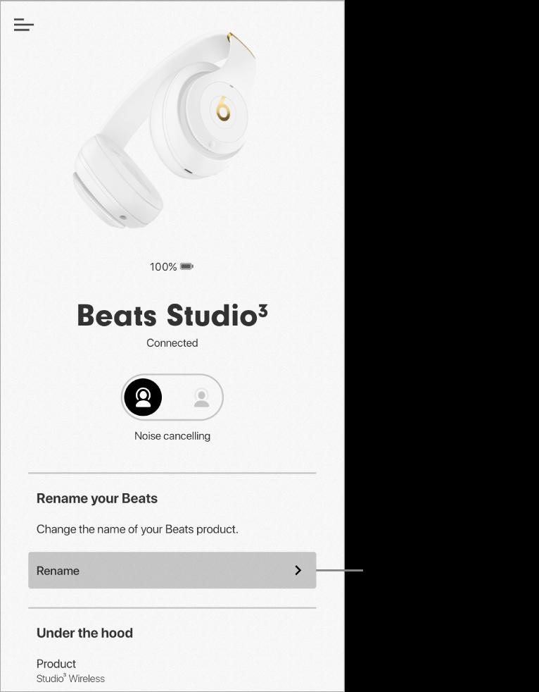 नाम बदलें बटन दिखाने वाली Studio3 डिवाइस स्क्रीन