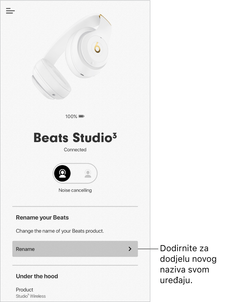 Zaslon uređaja Studio3 koji prikazuje tipku Promijeni naziv