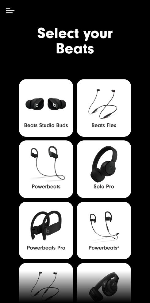 Tela Selecione o dispositivo Beats mostrando dispositivos compatíveis