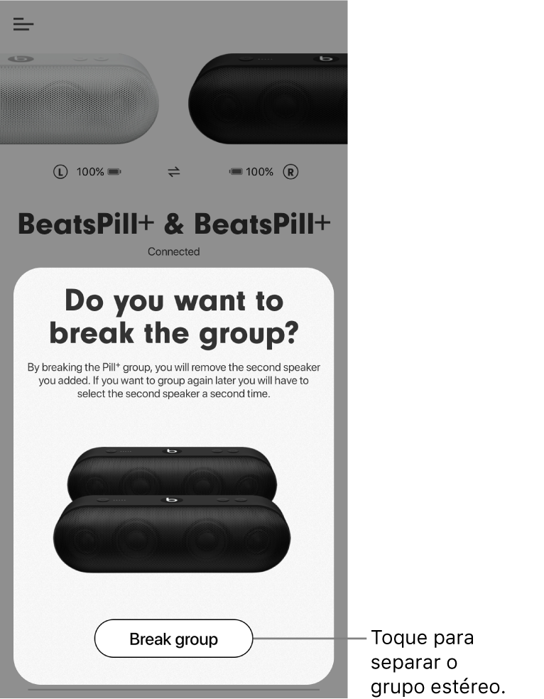 """Aplicação Beats; ecrã """"Separar grupo""""."""