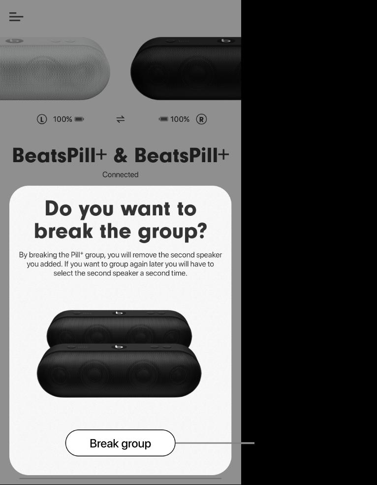 Apka Beats znázorňujúca kartu Zrušenie skupiny