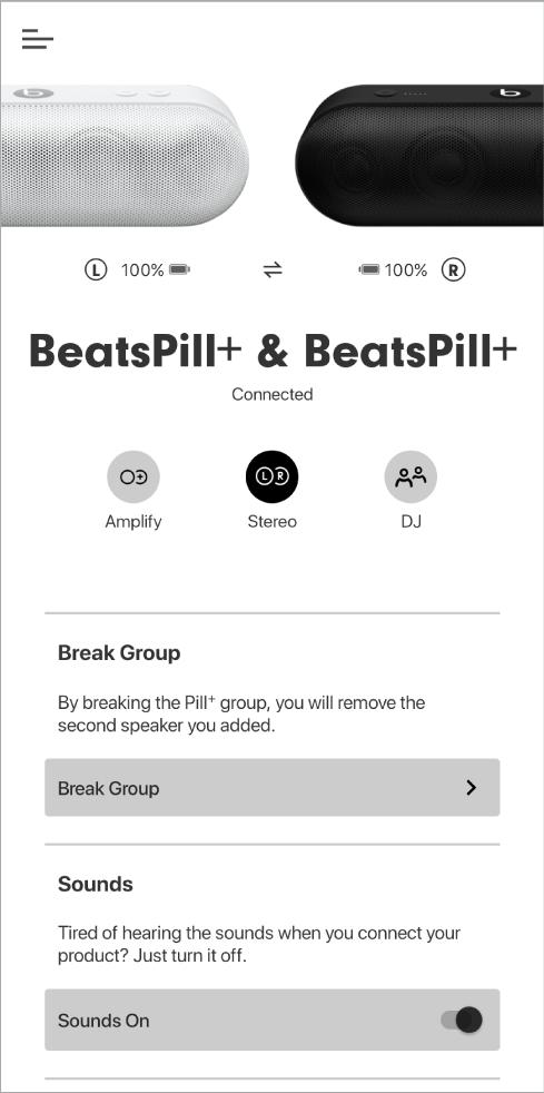 หน้าจอแอพ Beats ในโหมดสเตอริโอ