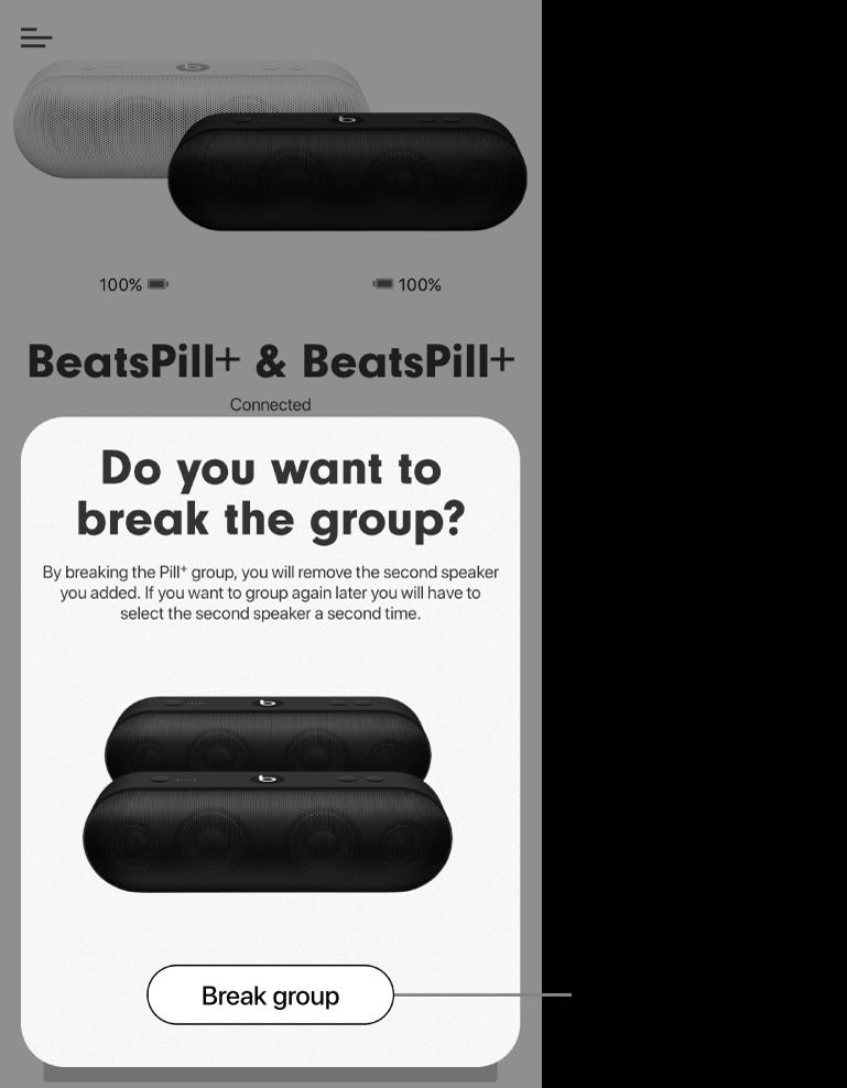 Ứng dụng Beats đang hiển thị thẻ Tách nhóm loa