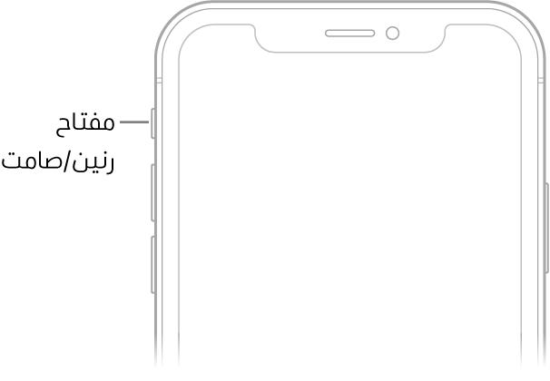 الجزء العلوي لواجهة الـiPhone مع وسيلة شرح تشير إلى مفتاح رنين/صامت.