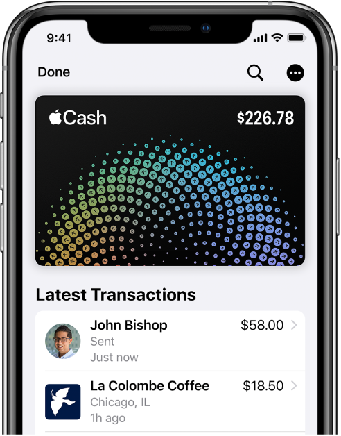 Картата Apple Cash в Wallet (портфейл) с показан бутон More (Повече информация) горе вдясно и последните транзакции под картата.