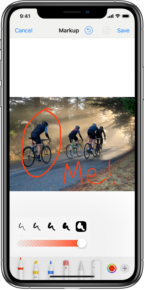 Снимка в екрана за украсяване. Снимката е в средата на екрана. Под снимката са следните инструменти за украсяване: писалка, маркер, молив, гума, ласо, палитра на цветовете и бутон за повече опции. Бутонът Cancel (Отказ) е горе вляво на екрана, а бутонът Save (Запиши) е горе вдясно.