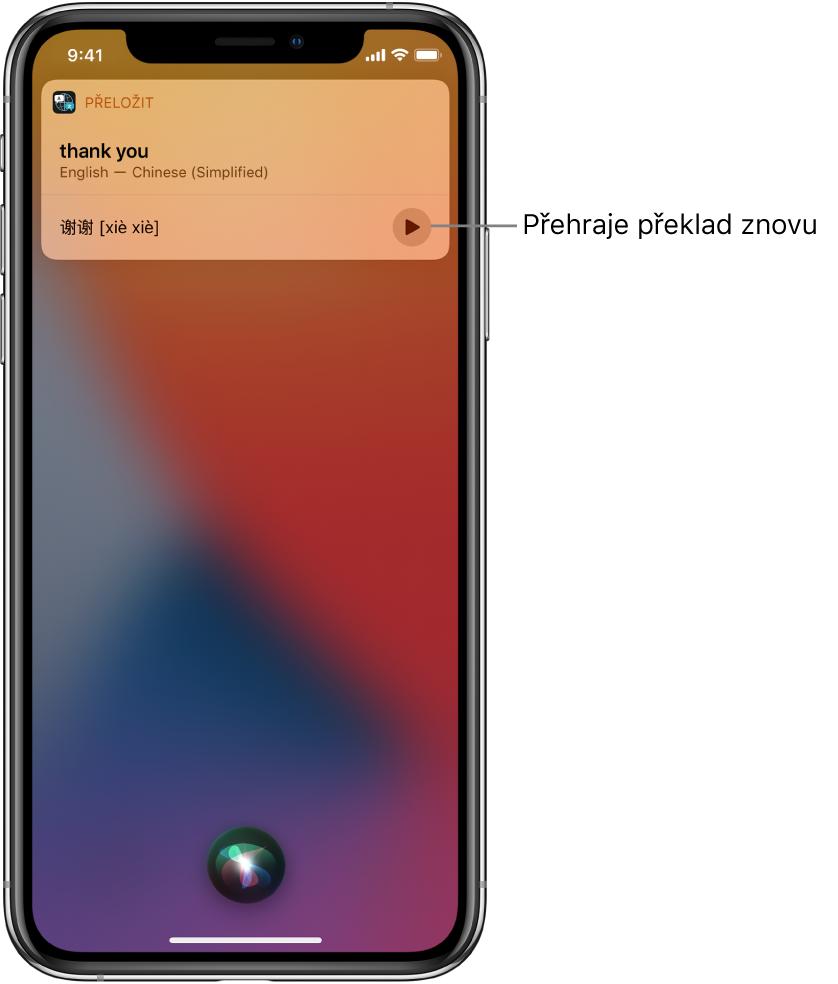 """Siri zobrazuje překlad anglické fráze """"thank you"""" do mandarínštiny. Tlačítkem vpravo od překladu lze přehrát mluvenou verzi překladu."""