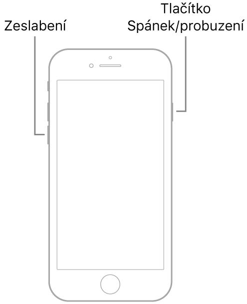 Obrázek iPhonu7 ležícího displejem vzhůru. Na levé straně zařízení je vidět tlačítko snížení hlasitosti ana pravé straně tlačítko Spánek/probuzení.
