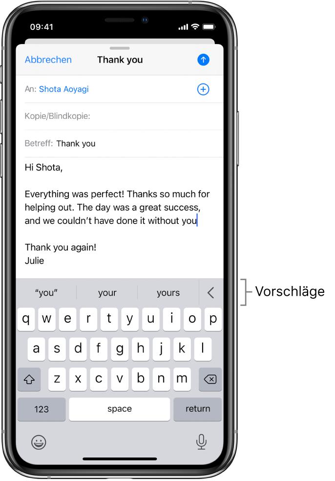 Der Entwurf einer E-Mail-Nachricht mit Vorschlägen zur Vervollständigung des aktuell eingetippten Worts.