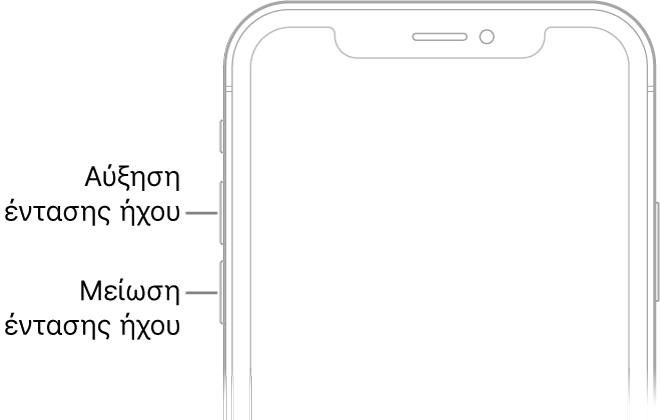 Το πάνω τμήμα της πρόσοψης του iPhone με τα κουμπιά αύξησης και μείωσης έντασης ήχου πάνω αριστερά.