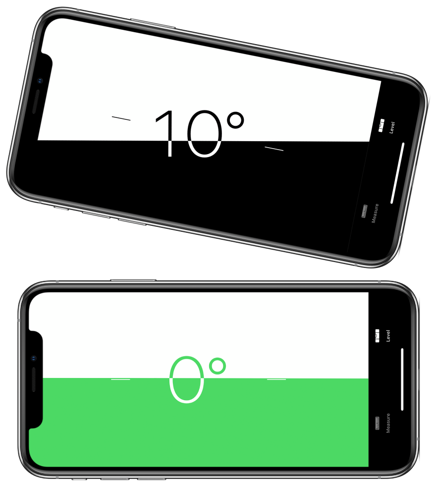 The level screen. On the top, iPhone is tilted at an angle of ten degrees; on the bottom, iPhone is level.