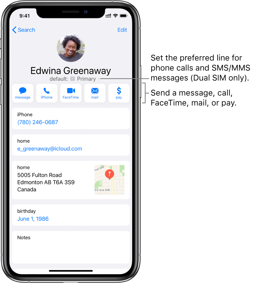 The info screen for a contact. At the top is the contact's photo and name. Below are buttons for sending a message, making a phone call, making a FaceTime call, sending an email message, and sending money with Apple Pay. Below the buttons is the contact information.