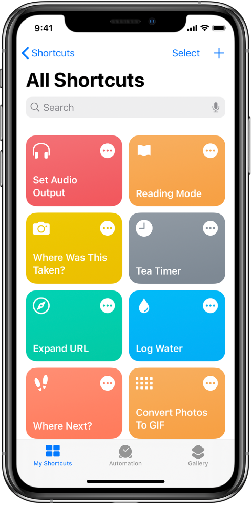 The My Shortcuts tab. A list of shortcuts to complete common everyday tasks such as setting a tea timer and finding a sushi restaurant. At the bottom are the Automation and Gallery tabs.