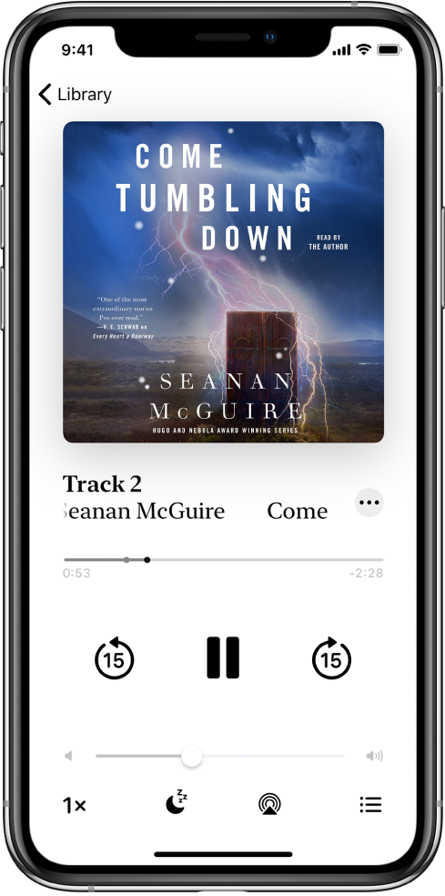The audiobook player screen showing the audiobook cover in the top center. Below the cover are the track number, audiobook name, and author. Below the audiobook name is the playhead, and below that are the play, pause, and skip back and skip forward controls. Below the player controls is the volume control slider. At the bottom of the screen, from left to right, are the Playback Speed button, Sleep Timer button, Playback Destination button, and Track List button. The Library button is at the top-left corner.