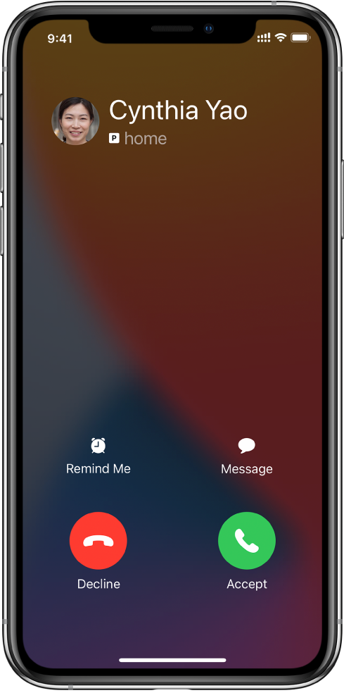 A screen showing a notification of an incoming call at the top. The Decline and Accept buttons are at the top right.