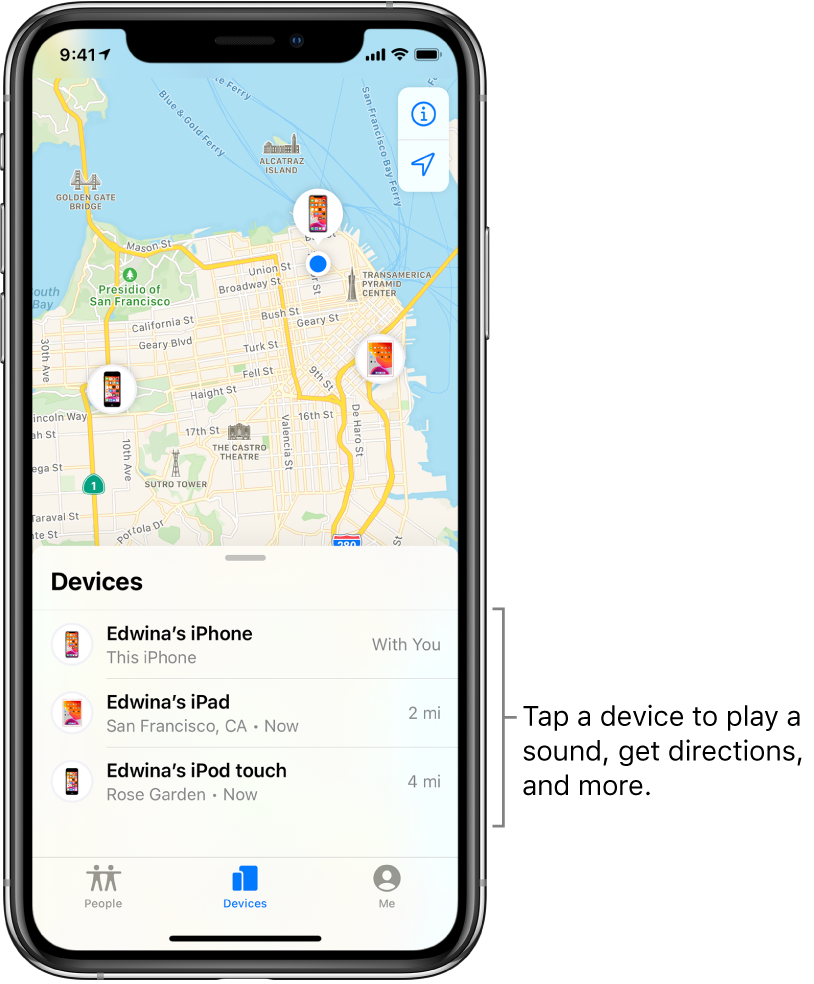 The Find My screen open to the Devices tab. There are three devices in the Devices list: Edwina's iPhone, Edwina's iPad, and Edwina's iPod touch. Their locations are shown on a map of San Francisco.