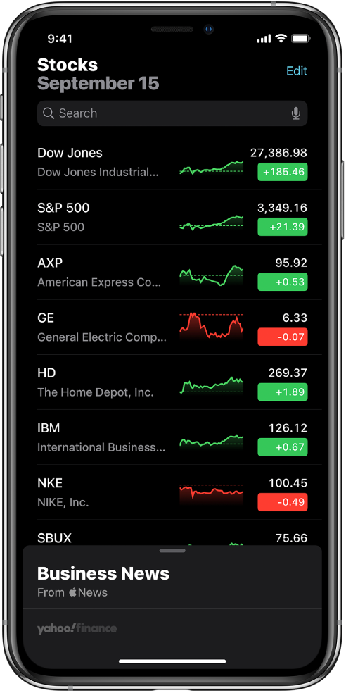 A watchlist showing a list of different stocks. Each stock in the list displays, from left to right, the stock symbol and name, a performance chart, the stock price, and price change. At the top of the screen, above the watchlist, is the search field. Below the watchlist is Business News. Swipe up on Business News to display stories.