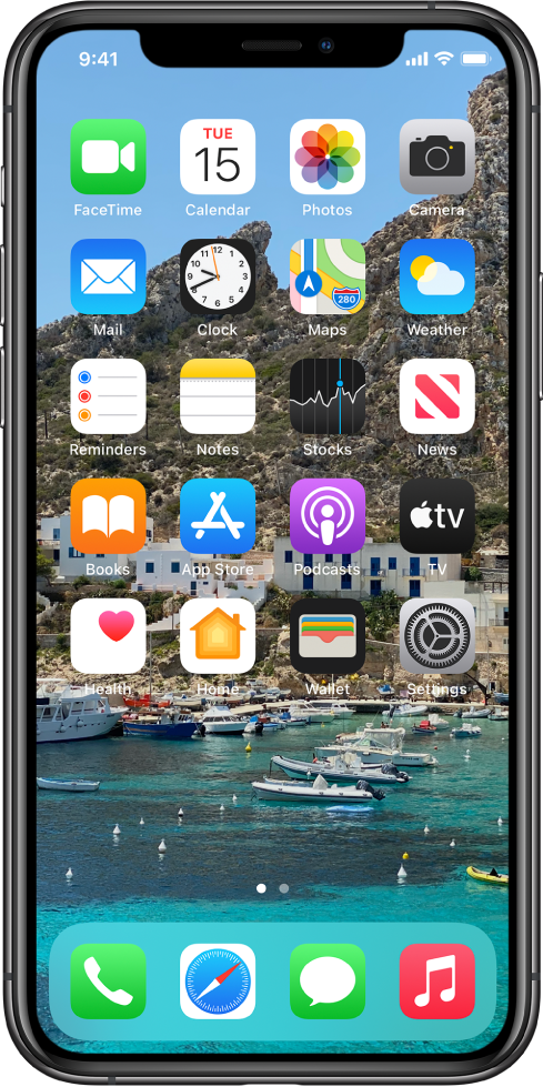 The Home Screen with a personalized background.