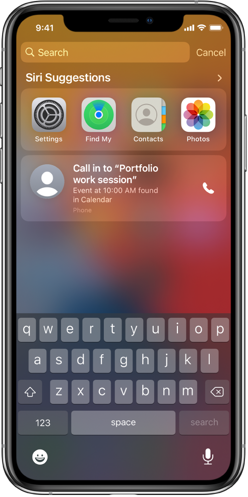 "The Lock Screen on iPhone. The apps Settings, Find My, Contacts, and Photos appear below ""Siri Suggestions."" Below the app suggestions is a suggestion to call in to Portfolio work session, which is an event found in Calendar."