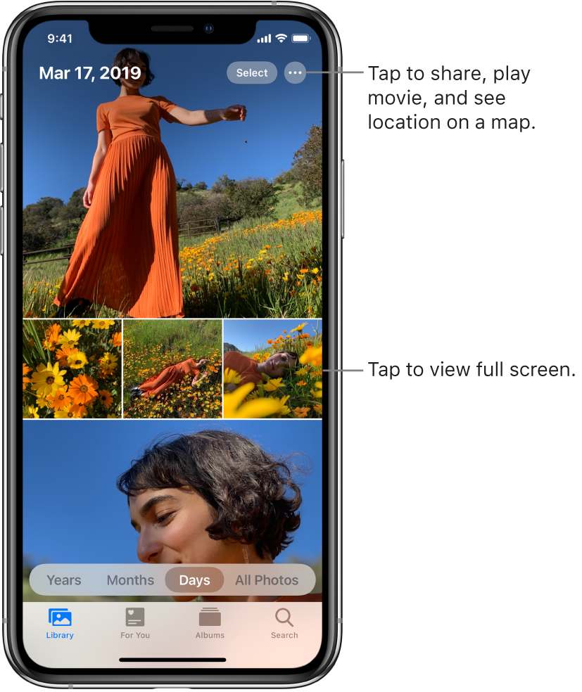 The photo library displayed in Days view. A selection of photo thumbnails fills the screen. In the top left of the screen are the date and location where the photos were taken. In the top right are the Select and More Options buttons to share photos and see details. Below the thumbnails are options to view the photo library by Years, Months, Days, and All Photos. Along the bottom are the Library, For You, Albums, and Search tabs.