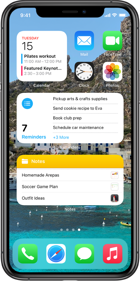 The Home Screen, showing productivity apps and widgets, including Calendar, Reminders, and Notes.