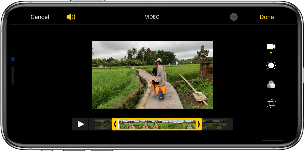 A video with the frame viewer across the bottom. The Cancel and Play buttons are in the lower left and the Done button is in the lower right.