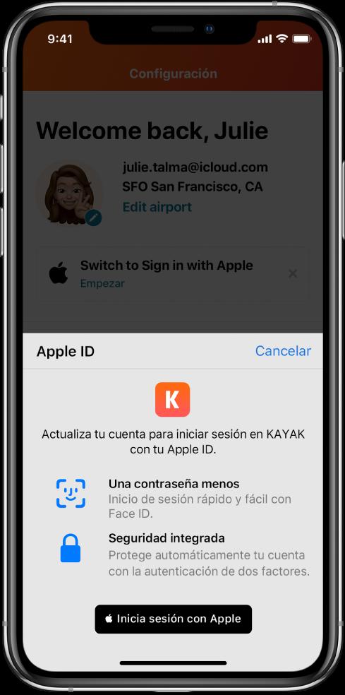 """Una app que muestra el botón """"Iniciar sesión con Apple""""."""