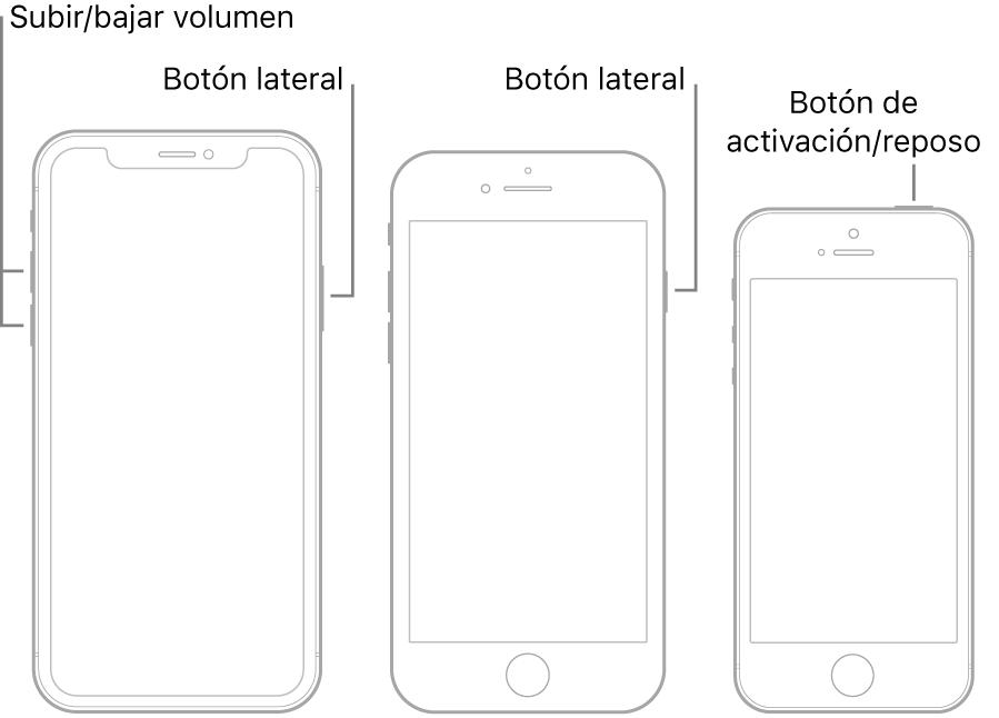 Ilustraciones de tres modelos de iPhone diferentes, todos con las pantallas mirando hacia arriba. La ilustración de la izquierda muestra los botones de subir y bajar volumen en la parte izquierda del dispositivo. El botón lateral se muestra a la derecha. La ilustración central muestra el botón lateral en la parte derecha del dispositivo. La ilustración de la derecha muestra el botón de activación/reposo en la parte superior del dispositivo.