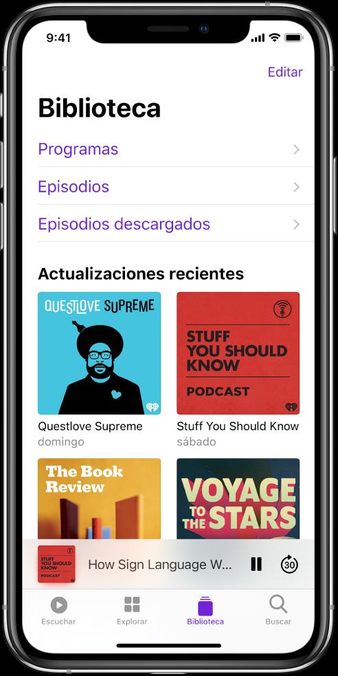 La pestaña Biblioteca con los podcasts que se han actualizado recientemente.