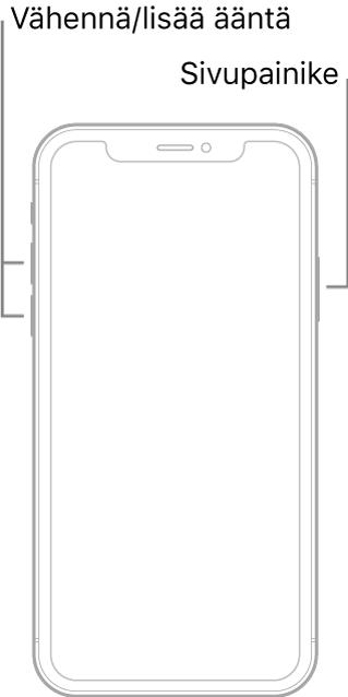 Kuva ylöspäin näyttävästä iPhone-mallista, jossa ei ole Koti-painiketta. Äänenvoimakkuuden lisäys- ja vähennyspainikkeet ovat laitteen vasemmalla puolella ja sivupainike on oikealla puolella.