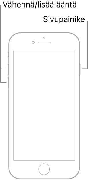 Kuva ylöspäin näyttävästä iPhone-mallista, jossa on Koti-painike. Äänenvoimakkuuden lisäys- ja vähennyspainikkeet ovat laitteen vasemmalla puolella ja sivupainike on oikealla puolella.