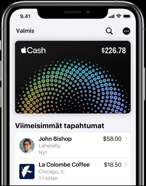 AppleCash -kortti Walletissa, Lisää-painike yläoikealla ja viimeisimmät tapahtumat kortin alapuolella.