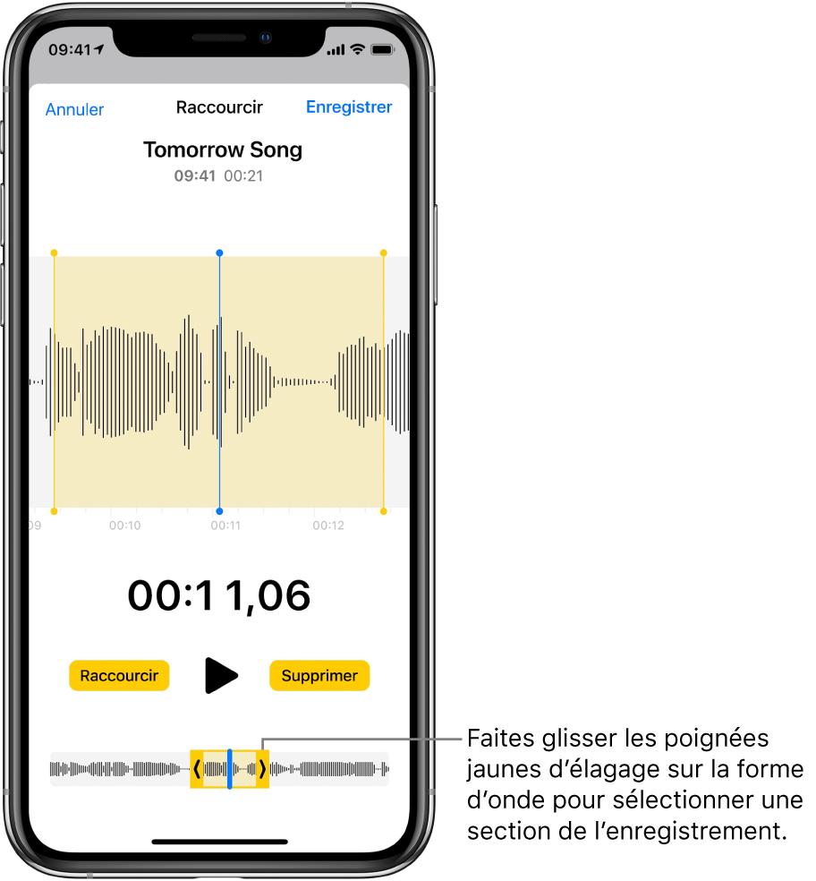 Un enregistrement en cours d'élagage, avec les poignées d'élagage encadrant une partie de la forme d'onde audio au bas de l'écran. Un bouton Lecture et la durée de l'enregistrement figurent au-dessus de la forme d'onde. Les poignées d'élagage apparaissent sous le bouton Lecture. Des deux côtés du bouton Lecture se trouvent le bouton Raccourcir, permettant de supprimer la partie de l'enregistrement en dehors des poignées, et le bouton Supprimer, permettant de supprimer la partie de l'enregistrement à l'intérieur des poignées.