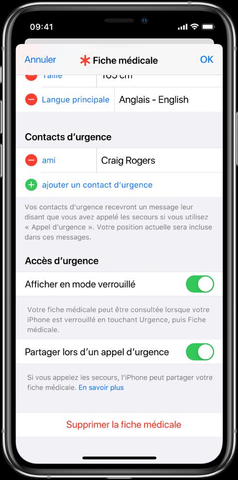 Écran Fiche médicale. En bas se trouvent les options pour afficher les informations de votre fiche médicale lorsque l'écran de l'iPhone est verrouillé et lorsque vous passez un appel d'urgence.