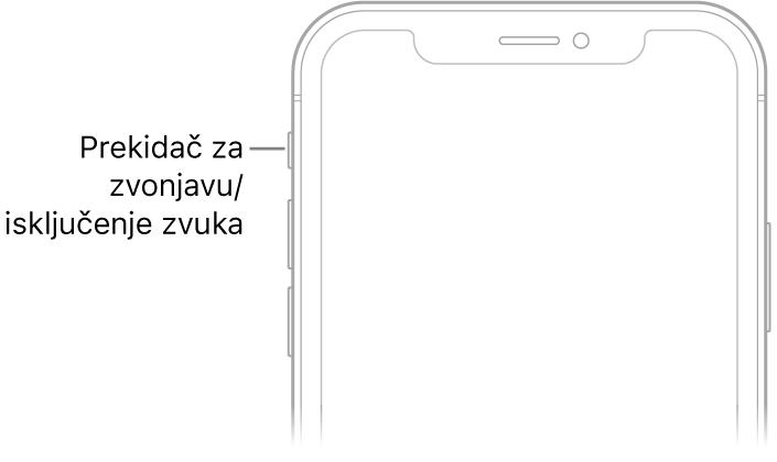 U gornjem dijelu prednje strane iPhonea nalazi se balončić koji pokazuje na preklopku zvonjava/isključen zvuk.