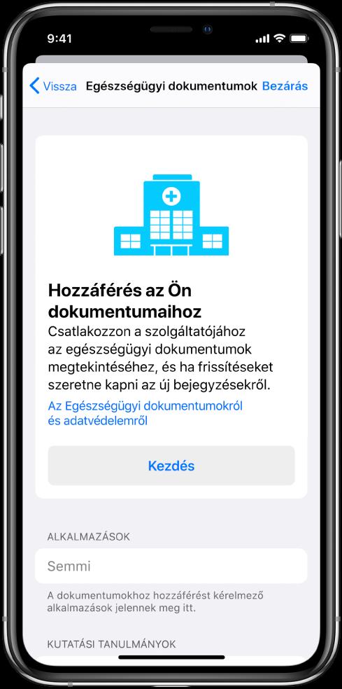 A Kezdés képernyő, ahol az egészségügyi dokumentumok letöltését lehet beállítani.