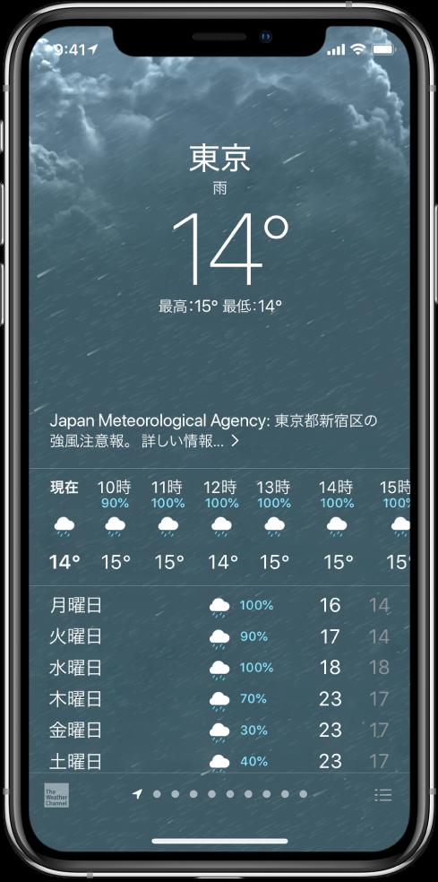 「天気」画面。上から順に、場所、激しい雷雨の警告、現在の気温、その日の最高/最低気温、今後1時間の降水量のチャートが表示されています。画面下部には1時間ごとの天気予報が表示されており、続いて表示されている並んだ点は、場所リストに登録されている場所の数を示しています。右下隅には「都市を編集」ボタンがあります。
